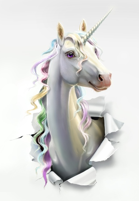 unicorn breaks through the paper, close-up