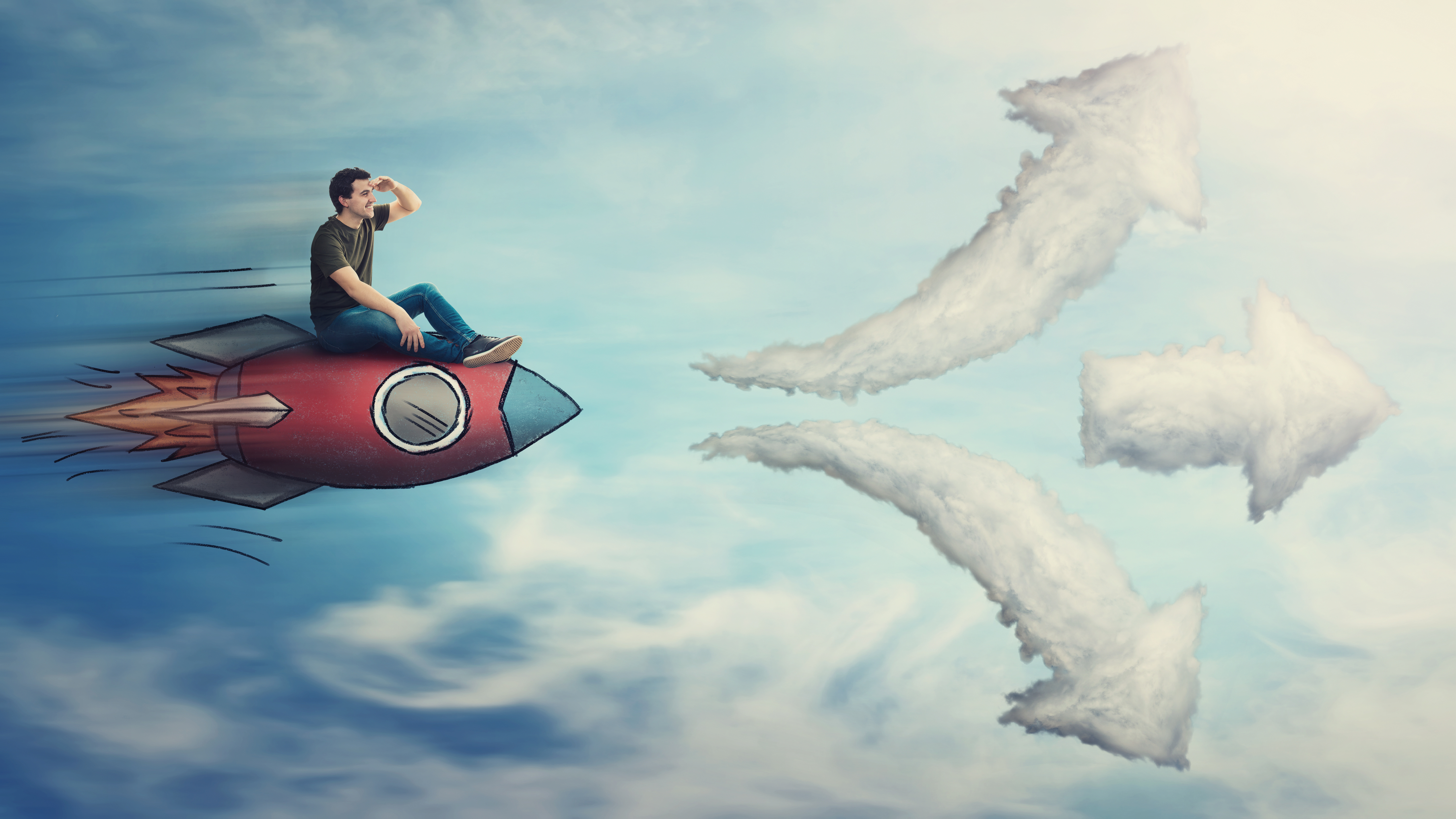 Guy flying on a fast rocket ship, hand to forehead looking far away for destination, has to choose a way as cloud arrows leads to three different directions.