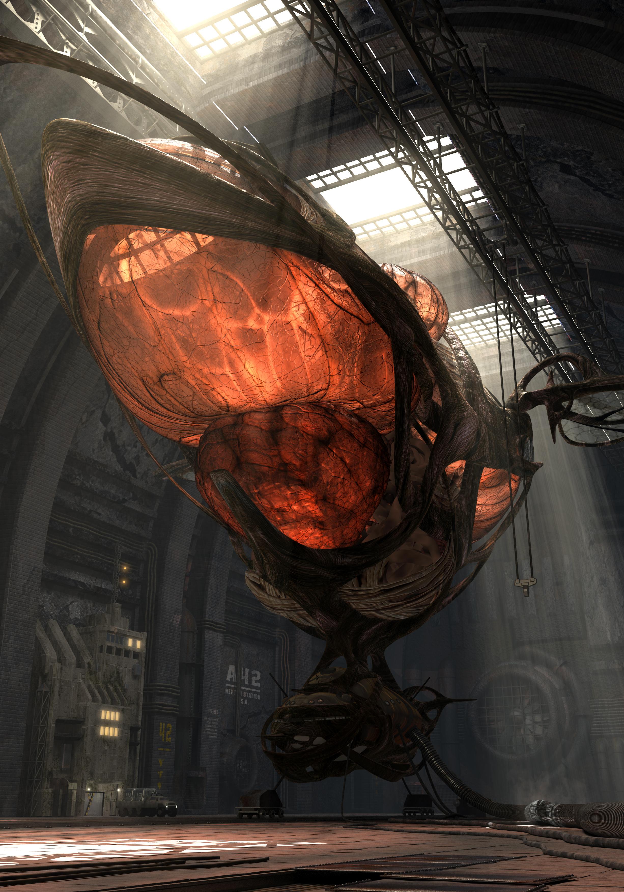 3D fantasy organic airship in the hangar