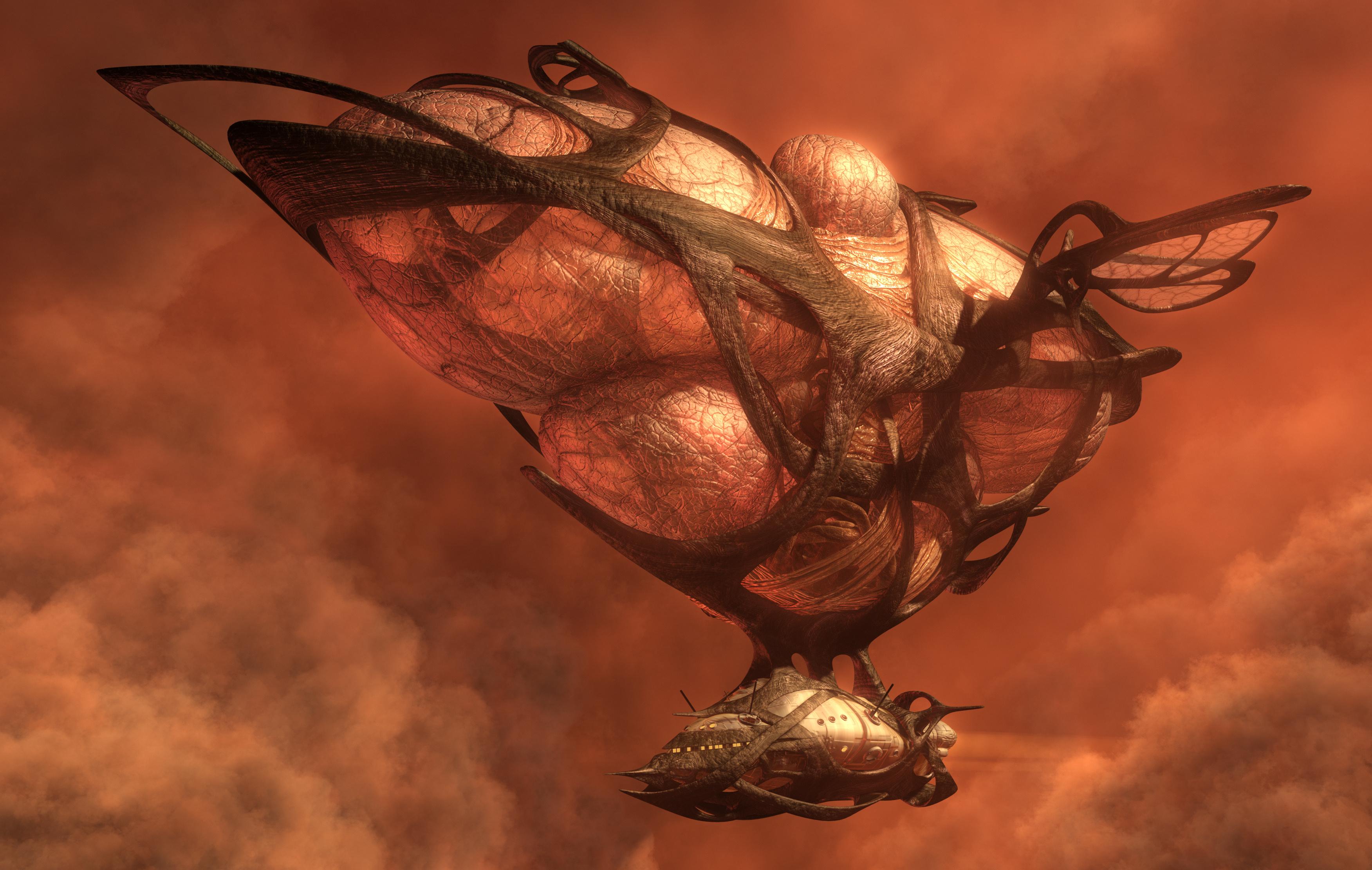 3D illustration of a flying organic fantasy airship